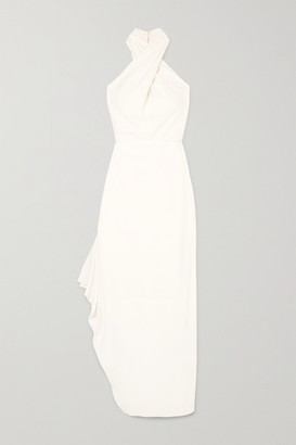 Halston Draped Crepe Halterneck Gown