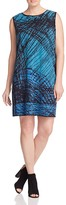 NIC+ZOE Plus Faux Leather Trimmed Scribble Print Dress