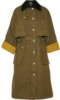 Miu Miu Wool-trimmed Waxed-cotton Coat - Army green