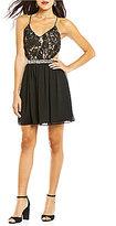 Jodi Kristopher X-Back Lace Bodice A-line Dress