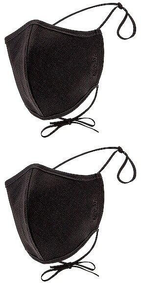 AGOLDE Two Pack Embroidered Cotton Masks in Black