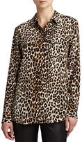 Equipment Signature Leopard-Print Slim Blouse