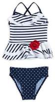 Flapdoodles Little Girl's Two-Piece Stripe and Polka Dots Bikini Set