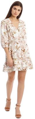 Piper 3/4 Sleeve Printed Linen V-Neck Dress
