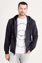 True Religion Raw Edge Zip Up Mens Hoodie