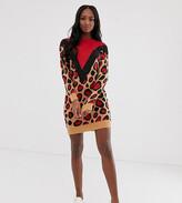 Brave Soul Tall simba chevron animal print sweater dress