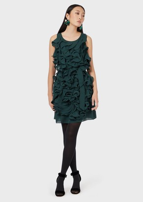 Emporio Armani Double Silk Georgette Dress With All-Over Ruches
