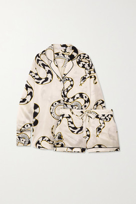 Olivia von Halle Alba Printed Silk-satin Pajama Set - Ivory