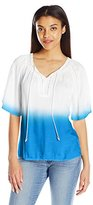 Notations Women's Raglan Flutter Sleeve Peasant Ombre Blouse with Heat Seal