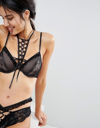 Asos Design ASOS PREMIUM Danielle Lace Up Plunge Underwire Bra with Detachable Choker