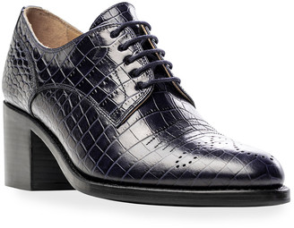 The Office of Angela Scott Miss Button Mock-Croc Oxford Loafers