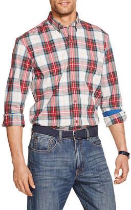 Izod Holiday Tartan Mens Long Sleeve Plaid Button-Front Shirt