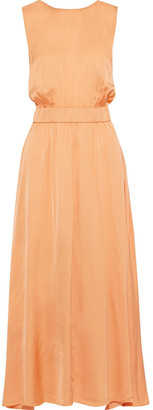 Forte Forte Open-back Gathered Washed-satin Maxi Dress