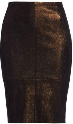 Akris Metallic Leather Pencil Skirt