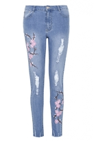 Quiz Light Blue Ripped Embroidered Jeans
