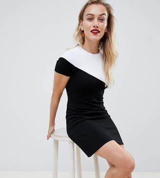 Asos DESIGN Petite mono colour block t-shirt dress-Multi