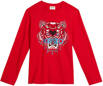 Kenzo Boy's Tiger Embroidered Long-Sleeve T-Shirt, Size 8-12
