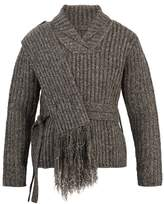Craig Green Shawl-collar ribbed-bouclé sweater