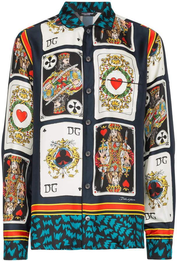 Dolce & Gabbana Card Print Silk Shirt