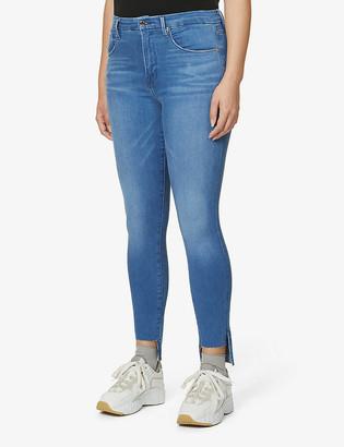Good American Good Waist stepped-hem skinny high-rise jeans