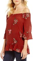 Figueroa & Flower Off-The-Shoulder Floral Embroidered Top