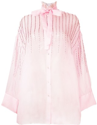 Valentino Collared Embellished Tie Neck Blouse