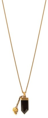 Alexander McQueen Crystal And Skull-charm Metal Necklace - Gold
