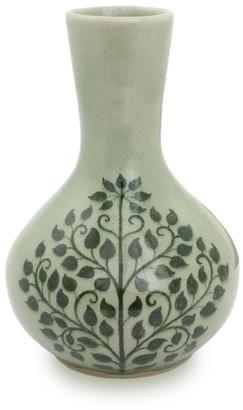Novica Handmade Green Thai Bodhi Celadon Ceramic Bud Vase