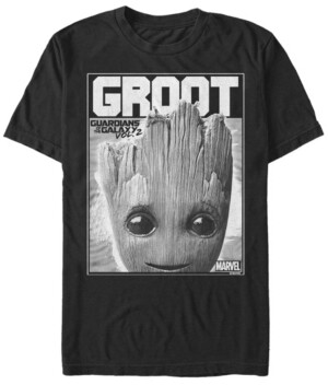 Marvel Men's Guardian of the Galaxy Groot Poster, Short Sleeve T-shirt