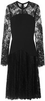 Elie Saab Chantilly Lace And Crepe Mini Dress - Black