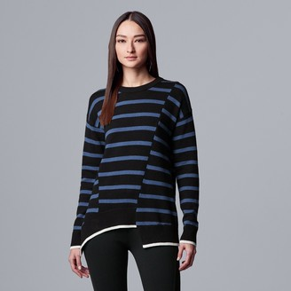 Vera Wang Women's Simply Vera Mixed Seam Hem Pullover