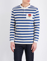 Kent & Curwen Striped rose-embroidered cotton-jersey rugby top