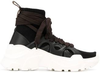 Agnona Wraparound Laces High Top Sneakers