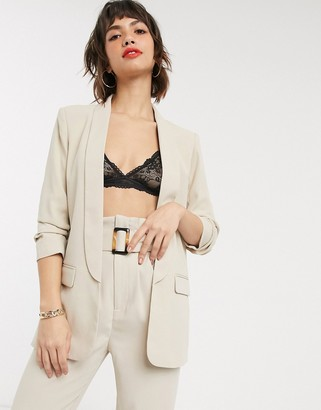 Stradivarius ruched sleeve blazer in beige