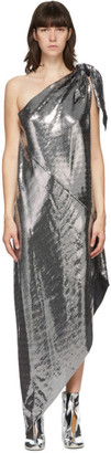 MM6 MAISON MARGIELA Silver Disco Drape Mid-Length Dress