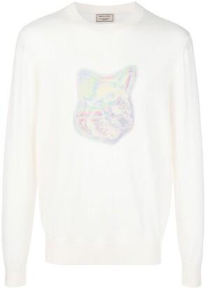 MAISON KITSUNÉ Fox head print merino jumper