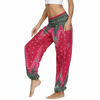 Nuofengkudu Ladies Women's Hippie Thai Trousers Boho Vintage Patterned Smocked Waist with Pockets Lightweight Baggy Casual Lounge Yoga Pants Mint Green Peacock One Size