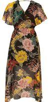 River Island Womens Black floral print chiffon cape midi dress
