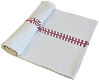 """One Kings Lane Vintage French Grain Sack Table Runner 90"""" Long - white/red/multi"""
