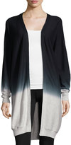 Three Dots Cashmere-Blend Ombre Long Cardigan, Granite/Black