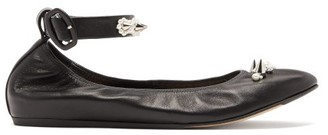 Simone Rocha Spike And Crystal-embellished Leather Ballet Flats - Womens - Black