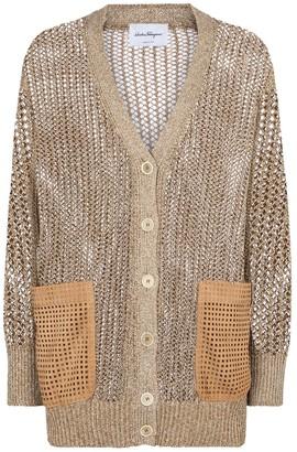 Salvatore Ferragamo Leather-trimmed longline cardigan
