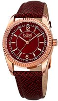 Burgi Women's Swarovski Crystal Accented Brown Mother-of-Pearl Dial with Rose-Tone Case on Genuine Leather Burgundy Strap Watch BUR167RD