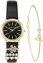 JCPenney Armitron Exclusive Womens Crystal Accent Black Leather 5-pc. Watch Boxed Set-75/5759bkgpst