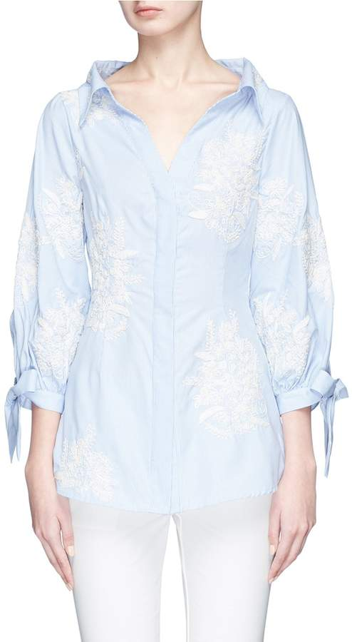 Alice + Olivia 'Toro' floral embroidered tie cuff shirt