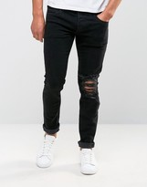 Jack and Jones Stretch Slim Fit Jeans With Rip Knee Detail