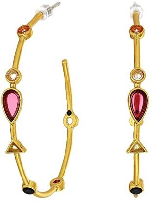 Madewell Gemstone Oval Hoop Earrings (Vintage Gold) Earring