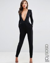 ASOS Tall ASOS TALL Jersey Jumpsuit with Extreme Plunge