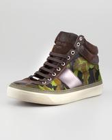 Jimmy Choo Camouflage Calf Hair High-Top Sneaker