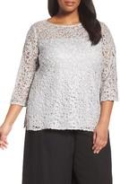 Alex Evenings Plus Size Women's Illusion Yoke Lace Tunic